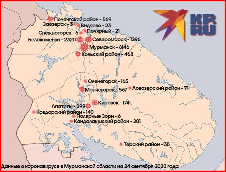 Распространение коронавируса по муниципалитетам Мурманской области.