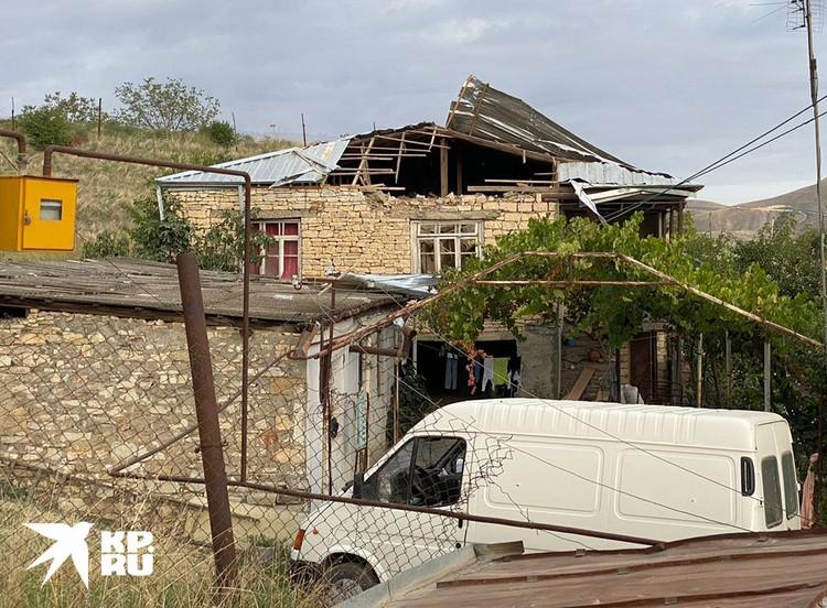 Последствия удара по селу Мартуни.