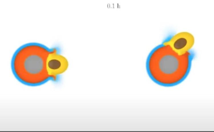 Вот Тейя врезается в Землю - под разными углами. Кадр из компьютерной анимации.