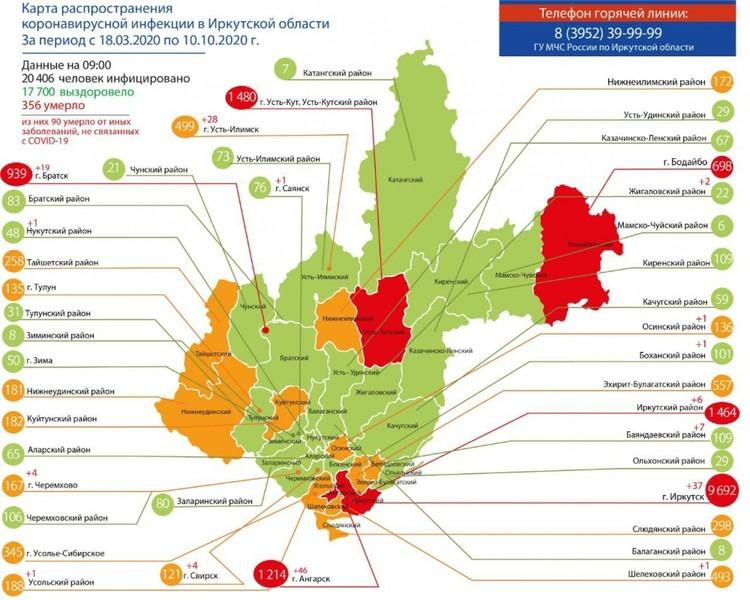 Карта распространения коронавируса в Иркутской области 10 октября. Фото: Оперативный штаб по коронавирусу в Приангарье