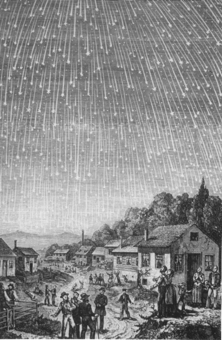 Звездный ливень из метеоров потока Леониды в 1833 году: зарисовано по сообщениям очевидцев.