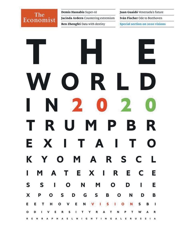 Прогноз-2020 The Economist стилизовал под знакомую всем таблицу для проверки зрения. Фото: The Economist