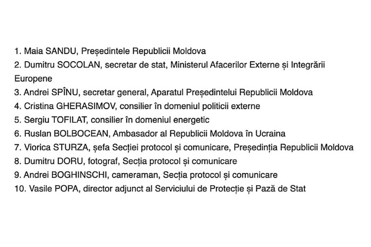 Утвержденный список делегации в Киев 12 января 2021 года.