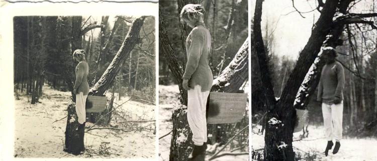 На западных аукционах продолжают появляться новые фотографии повешенной Веры Волошиной. Ее схватили и повесили 29 ноября 1941 года. До середины декабря проходящие мимо фашисты фотографировались на фоне советской диверсантки