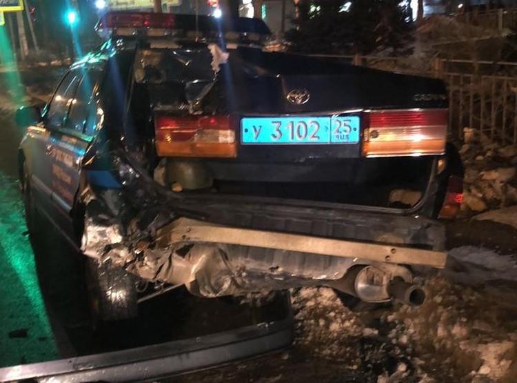 Пьяный водитель врезался в патрульную машину. Фото: пресс-служба отдела МВД России по Уссурийску