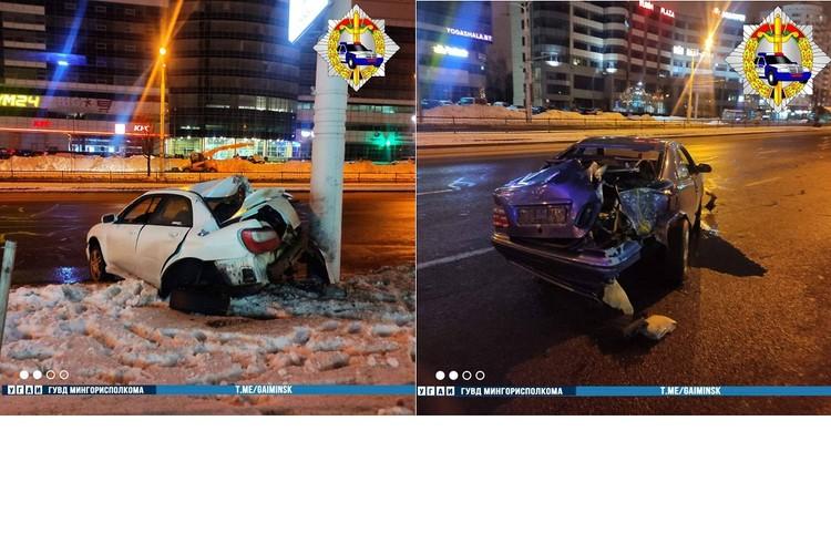 После столкновения оба водителя попали в больницу. Фото: УГАИ ГУВД Мингорисполкома.