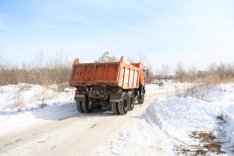 На полигон в районе Павла Морозова вывозят снег с южной и центральной части Хабаровска