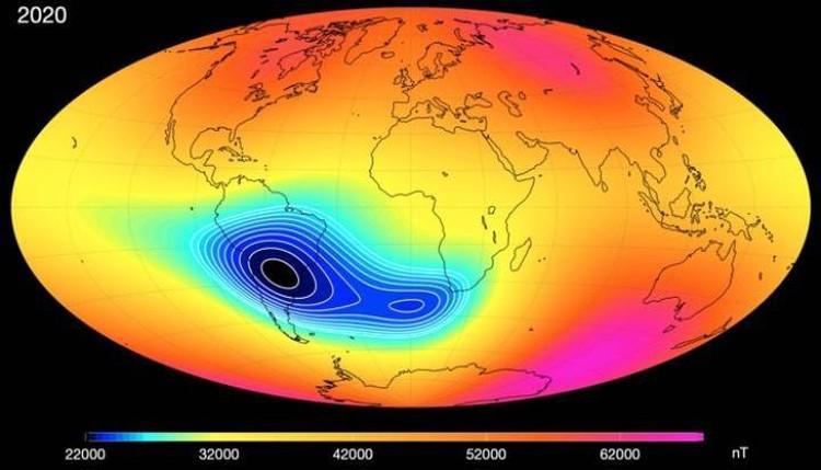 Южно-Атлантическая магнитная аномалия увеличивается и размножается.