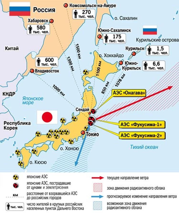 Карта атомной катастрофы в Японии