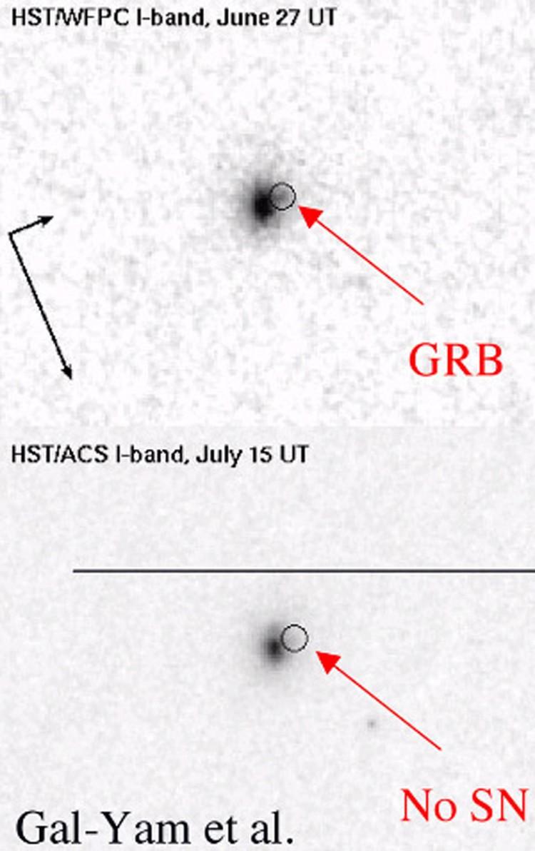 Вспышка GRB 060614, снятая телескопом Hubble. На левом снимке, сделланном через несколько дней не видно никакой сверхновой.