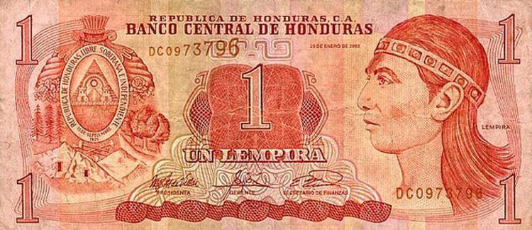 Гондурасская лемпира с портретом народного героя.