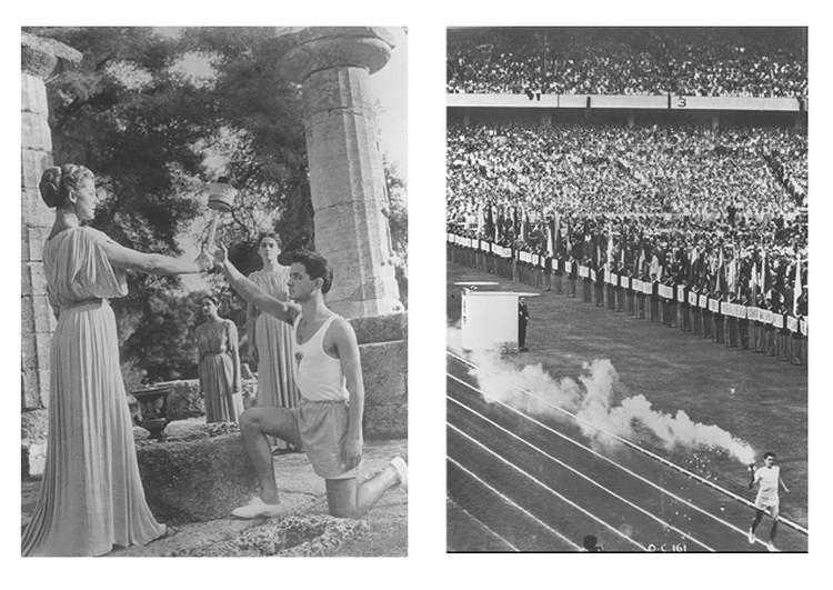 Слева на право: Церемония зажжения  Олимпийского огня «Мельбурн 1956» в Олимпии; Церемония открытия  Олимпийских игр «Мельбурн 1956».