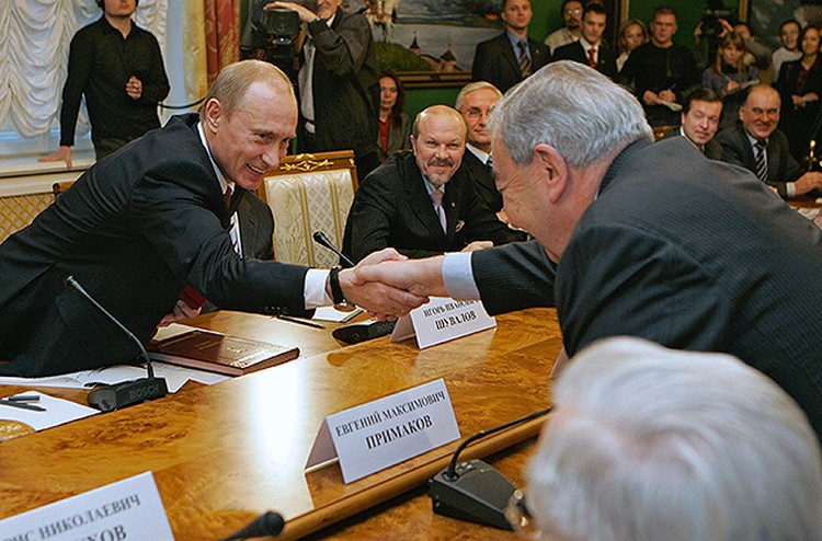 2007 год. Владимир Путин на встрече  с президиумом Торгово-промышленной палаты.