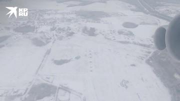 Взлет и посадка Ил 76 на заснеженную грунтовую полосу в Ивановской области