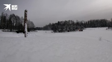 Подрывы льда на реке Иневка в Московской области