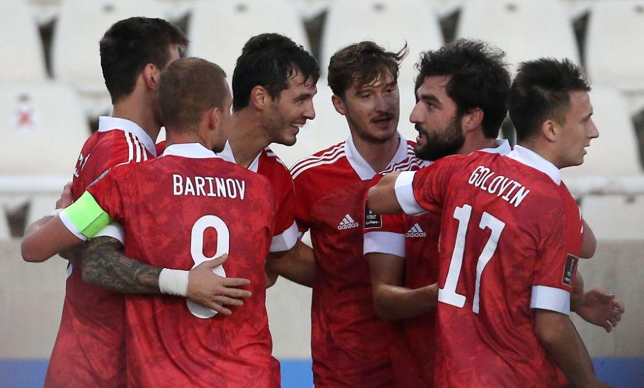 Сборная России празднует гол Александра Ерохина в ворота Кипра. Фото: Reuters